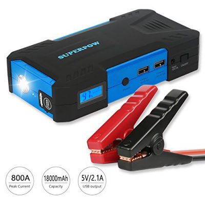 Superpow 800A Batería Arrancador de Coche, 18000mAh Jump Starter Portátil con Pinzas Inteligentes, Pantalla LCD,